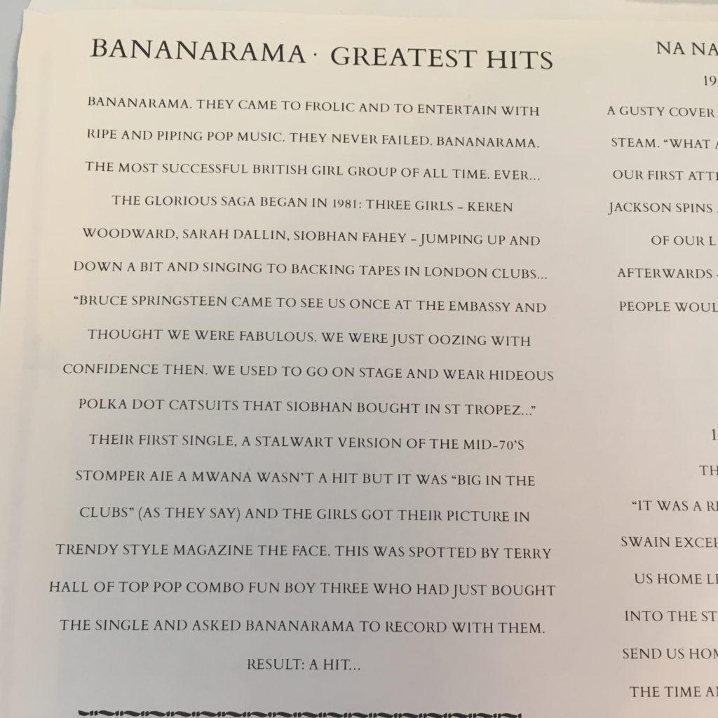 Bananarama Greatest Hits sleeve detail