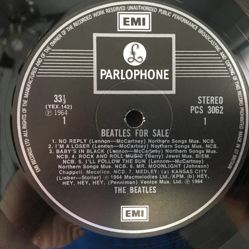 Beatles For Sale label
