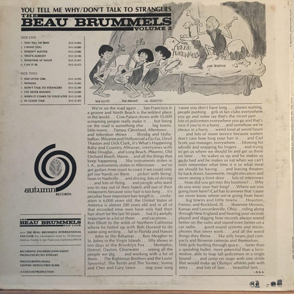 Beau Brummels Volume 2 back cover