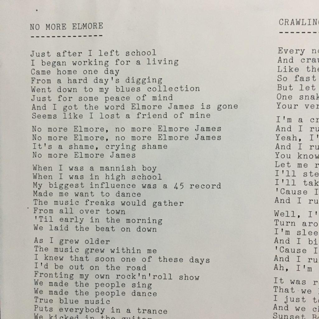 Oh, typewritten lyrics....