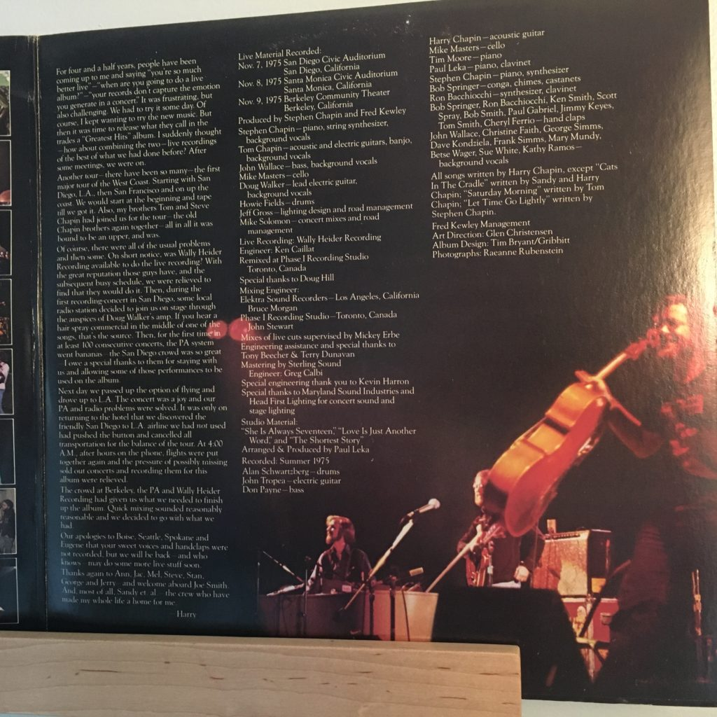 Harry Chapin Greatest Stories Live gatefold right