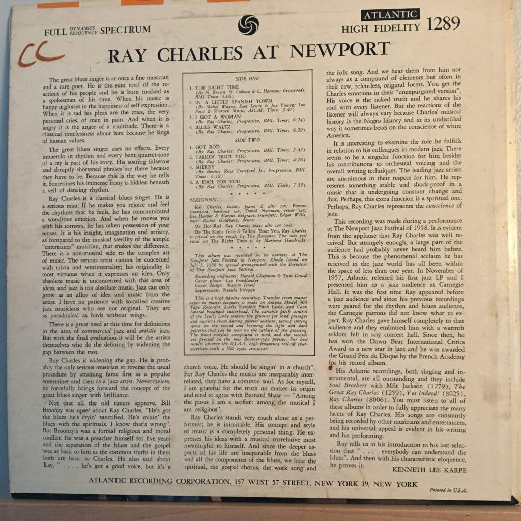 Ray Charles at Newport back cover