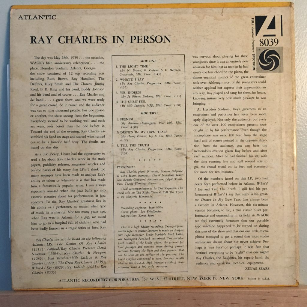 Ray Charles in Person back cover