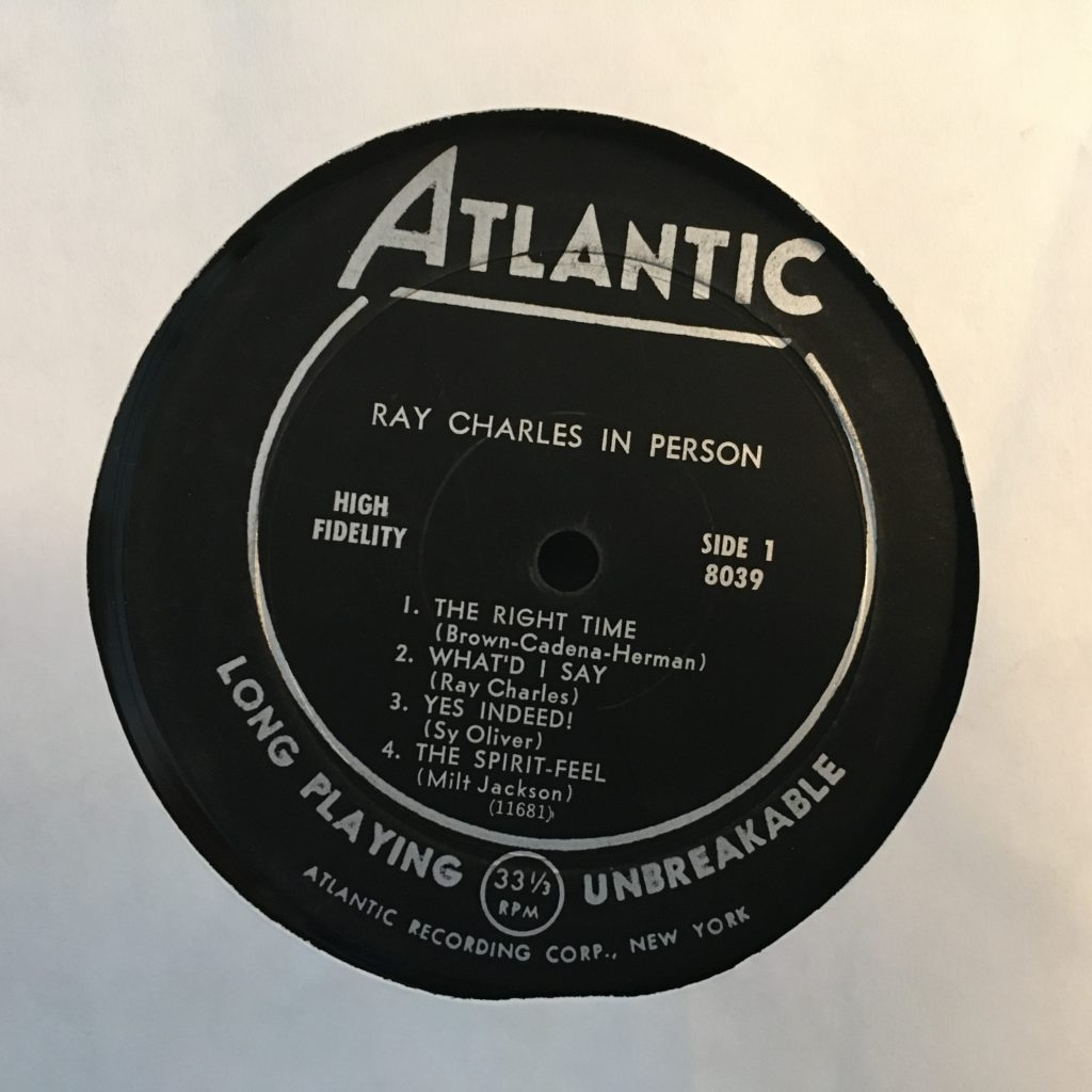 Ray Charles in Person Label