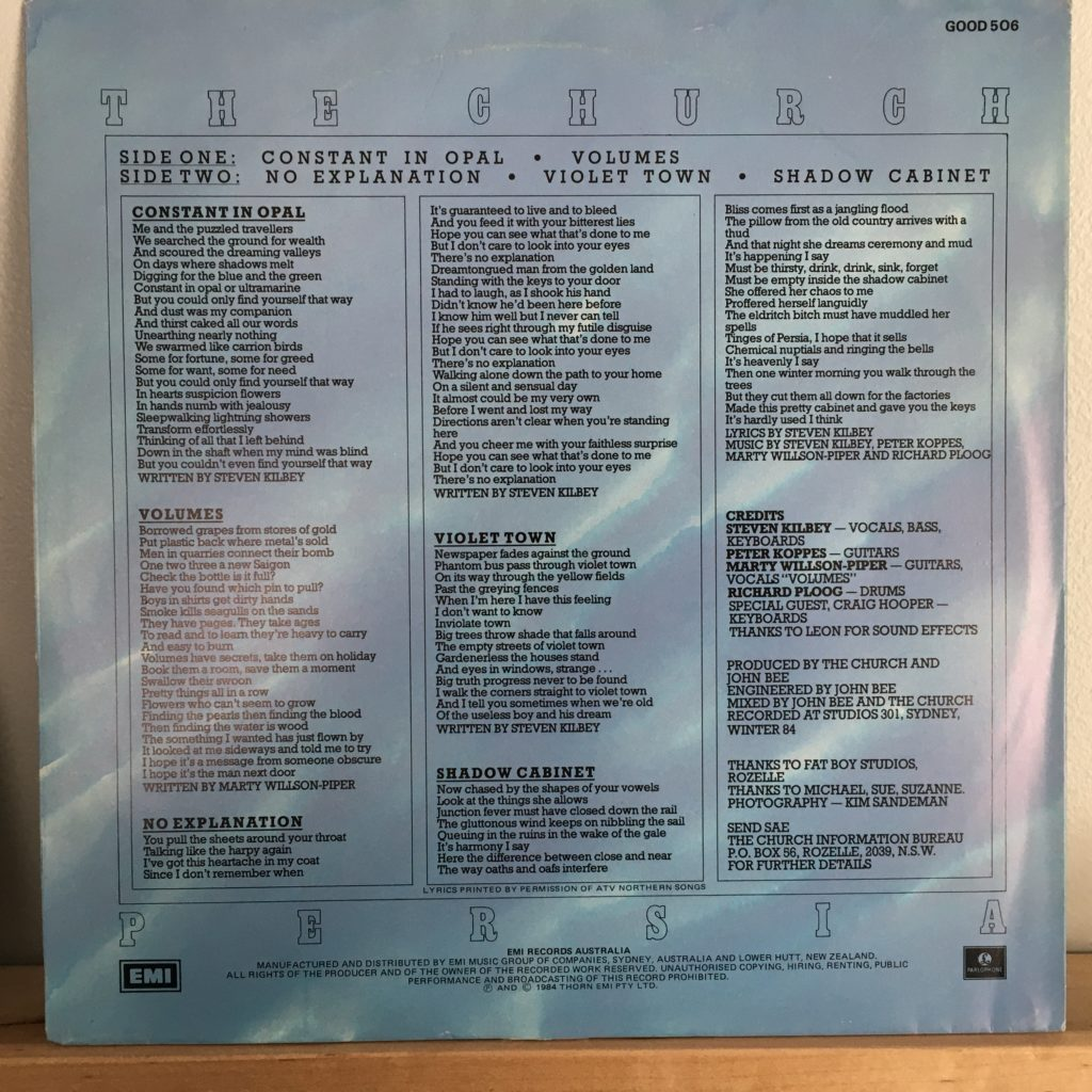 Persia back cover with lyrics