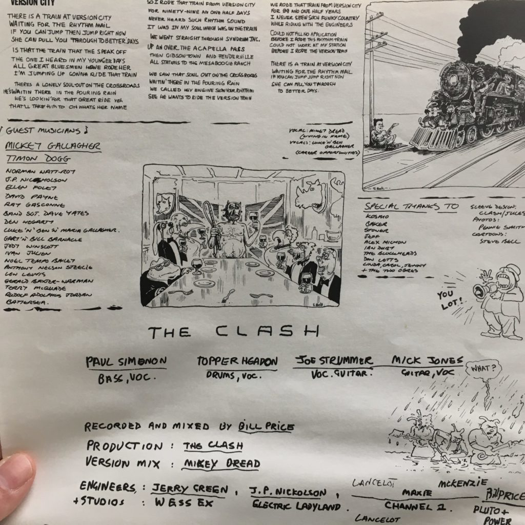 Part of the giant folded lyric sheet in Sandinista