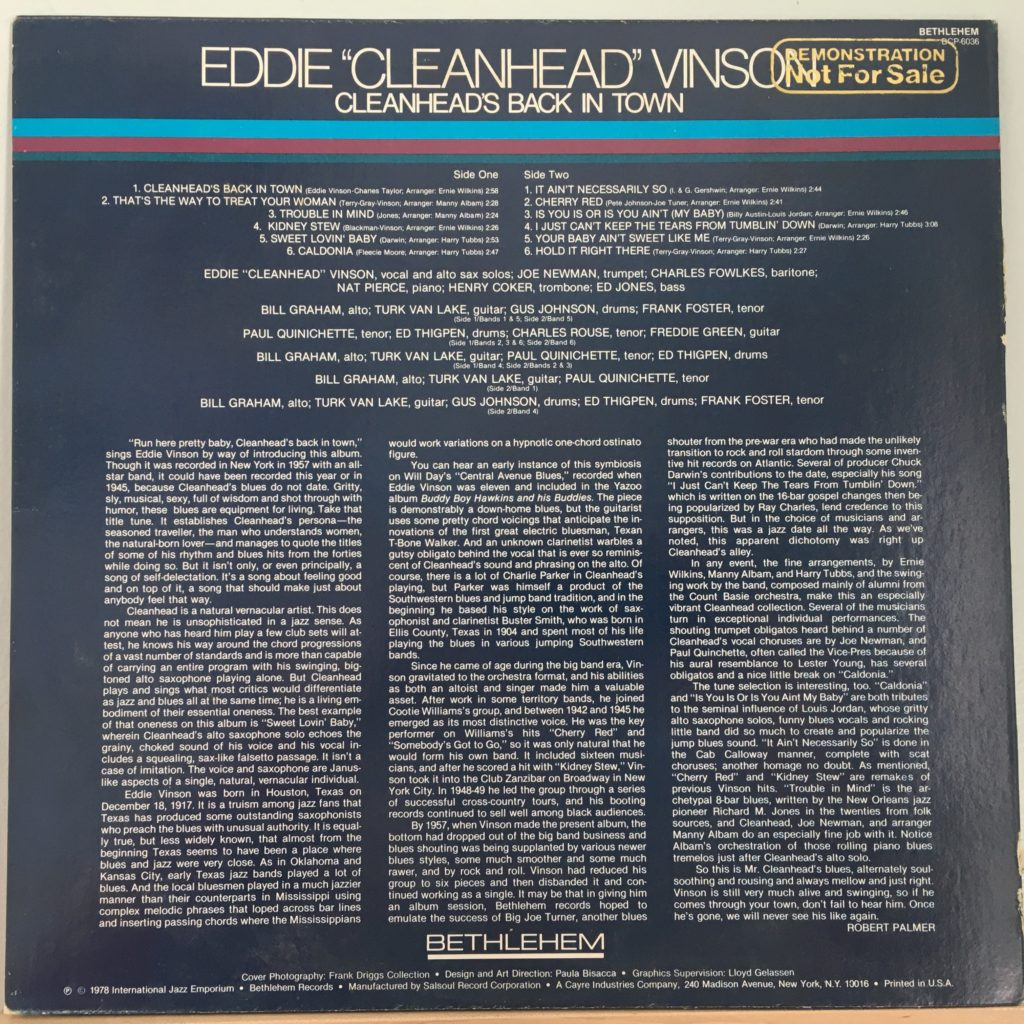 Back cover for Cleanhead's Back In Town