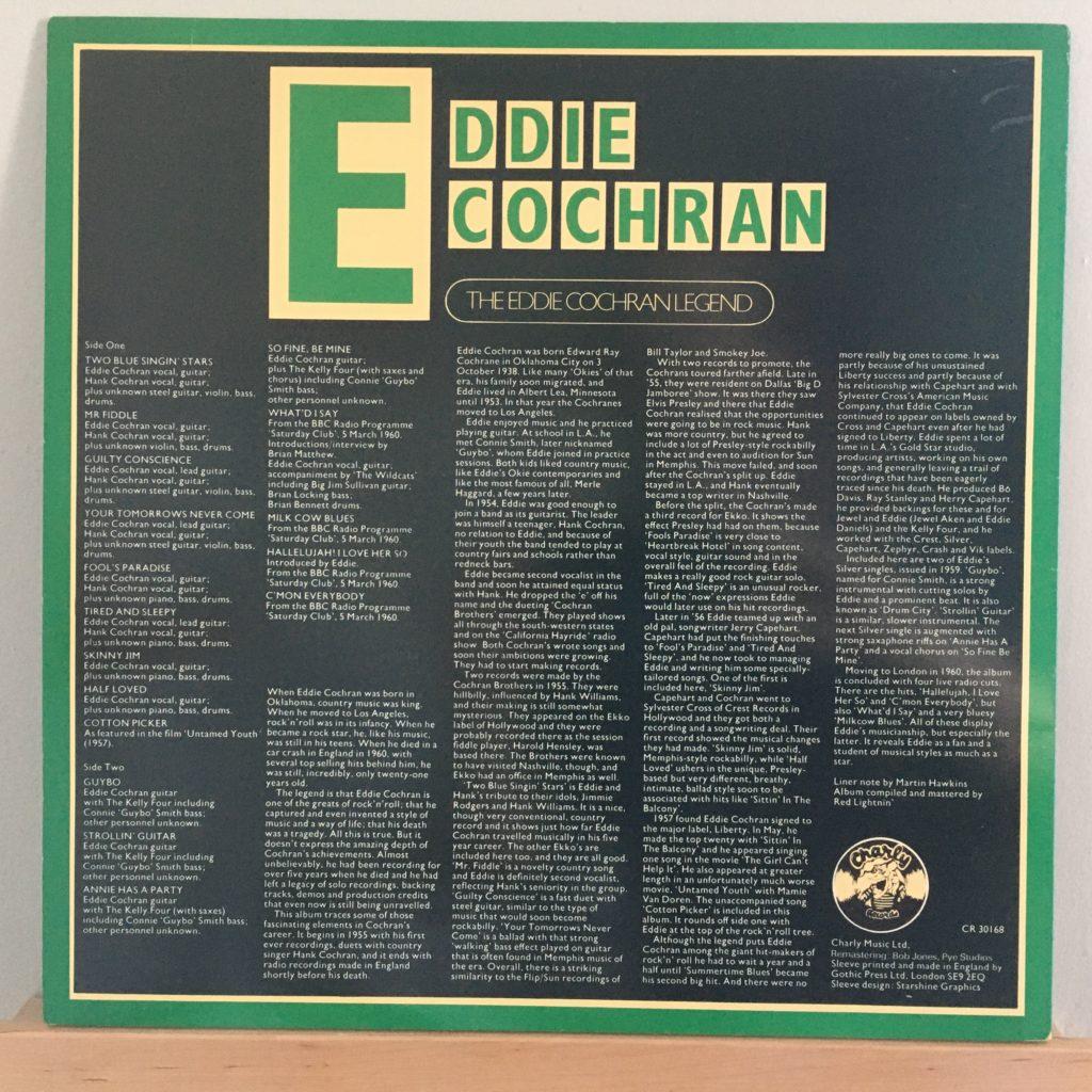 Eddie Cochran Legend back cover liner notes