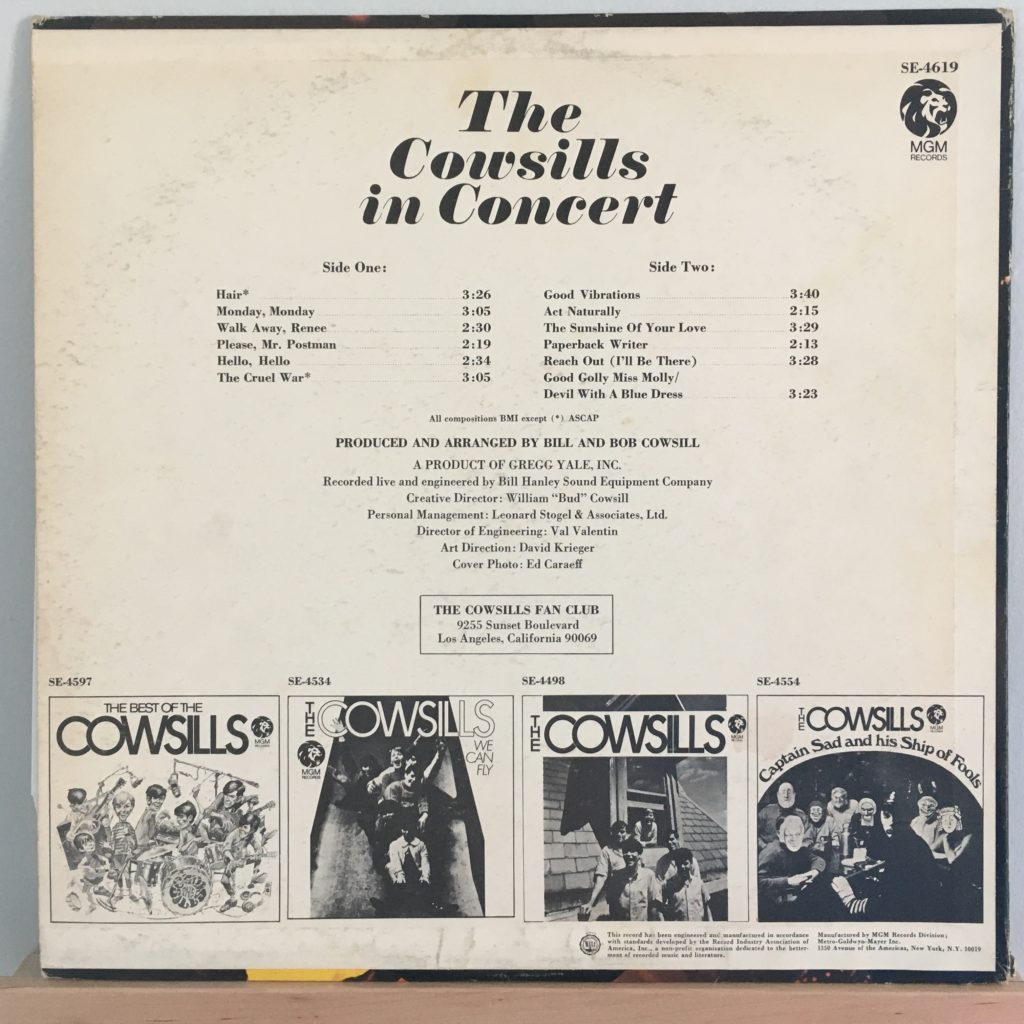 The Cowsills in Concert back cover