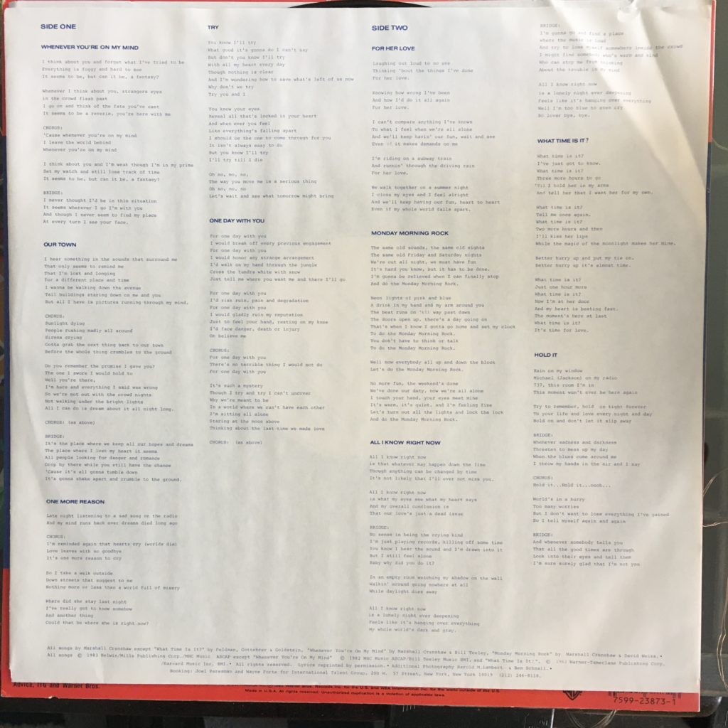 Field Day came with a paper sleeve and lyrics