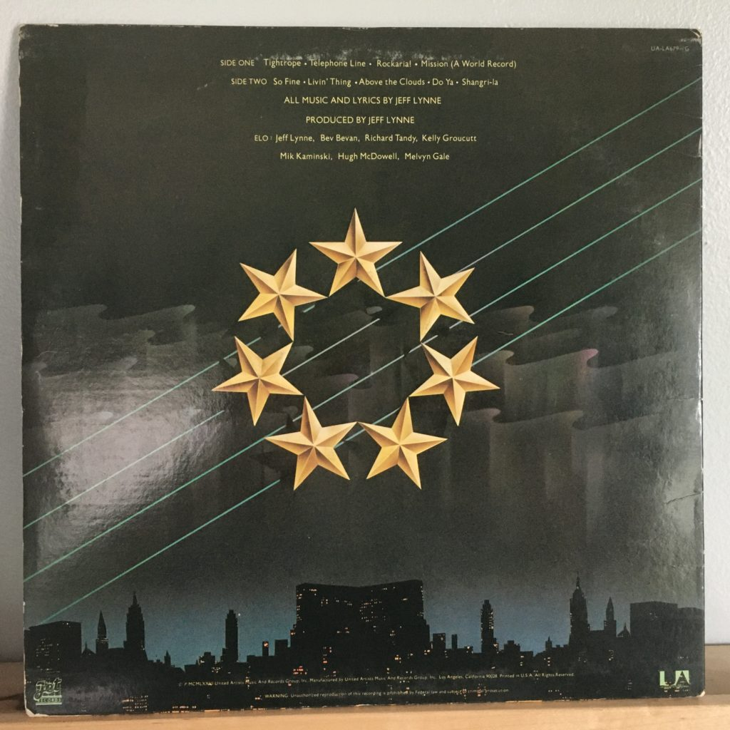 ELO New World Record back cover