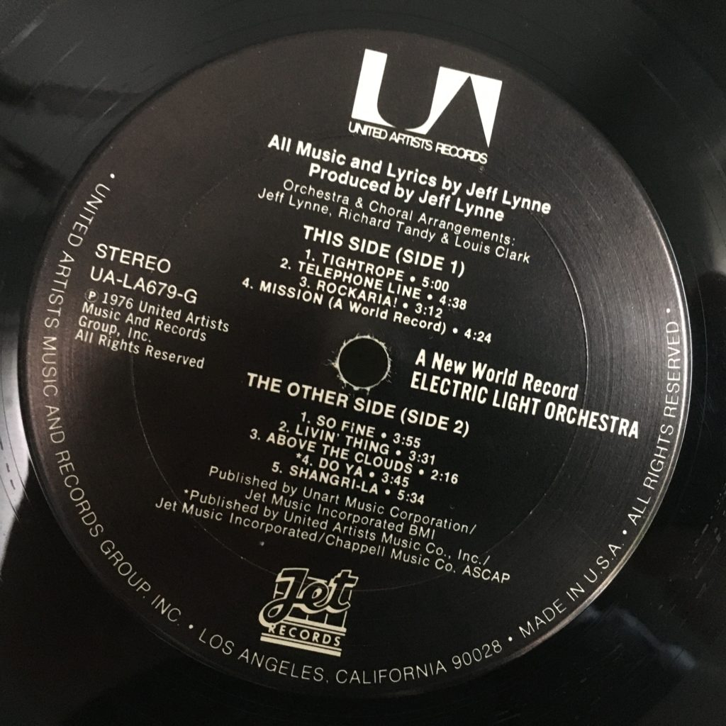 ELO New World Record Side 1 label