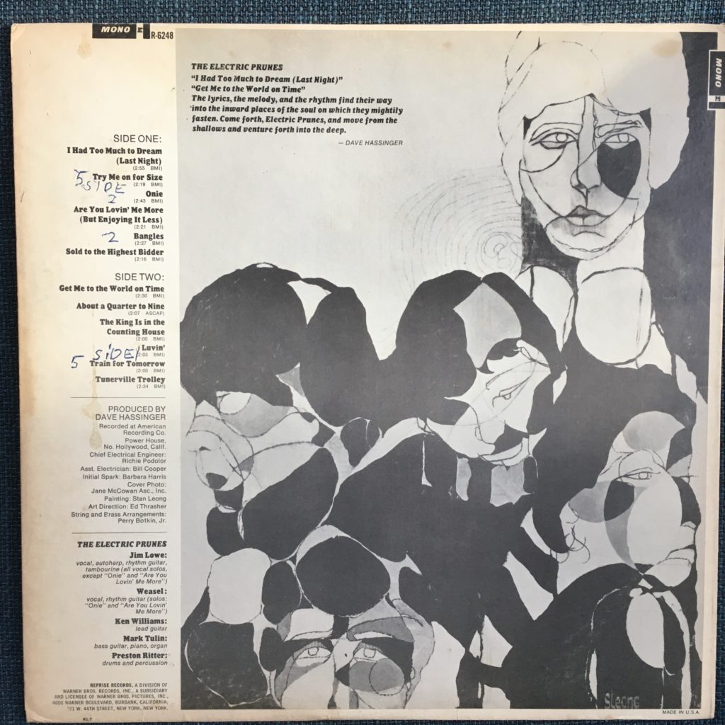 The Electric Prunes back cover