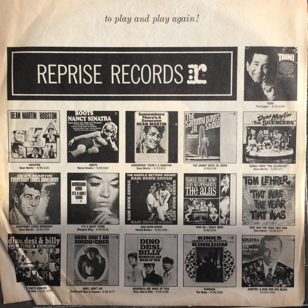 Reprise records promo sleeve b