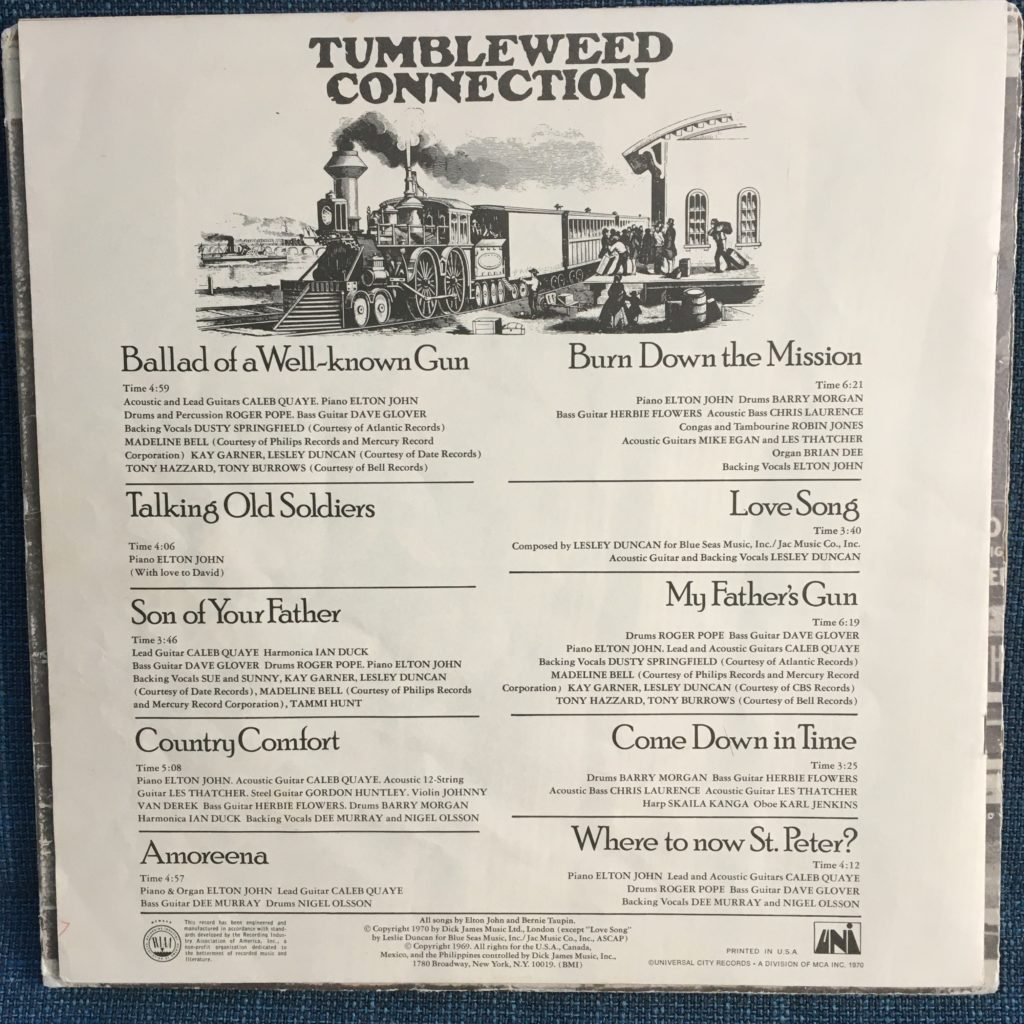 Tumbleweed Connection lyrics booklet