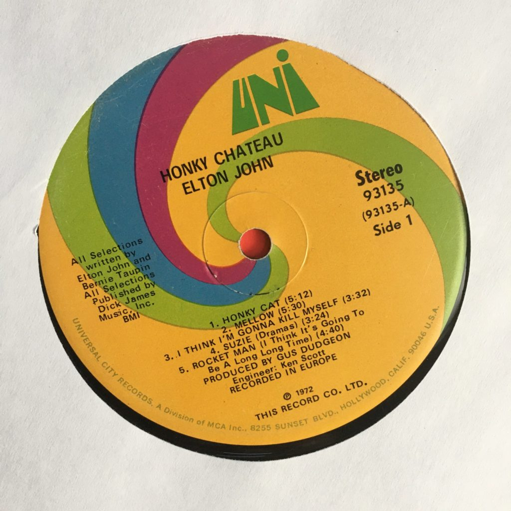 Honky Chateau on the Uni spiral label