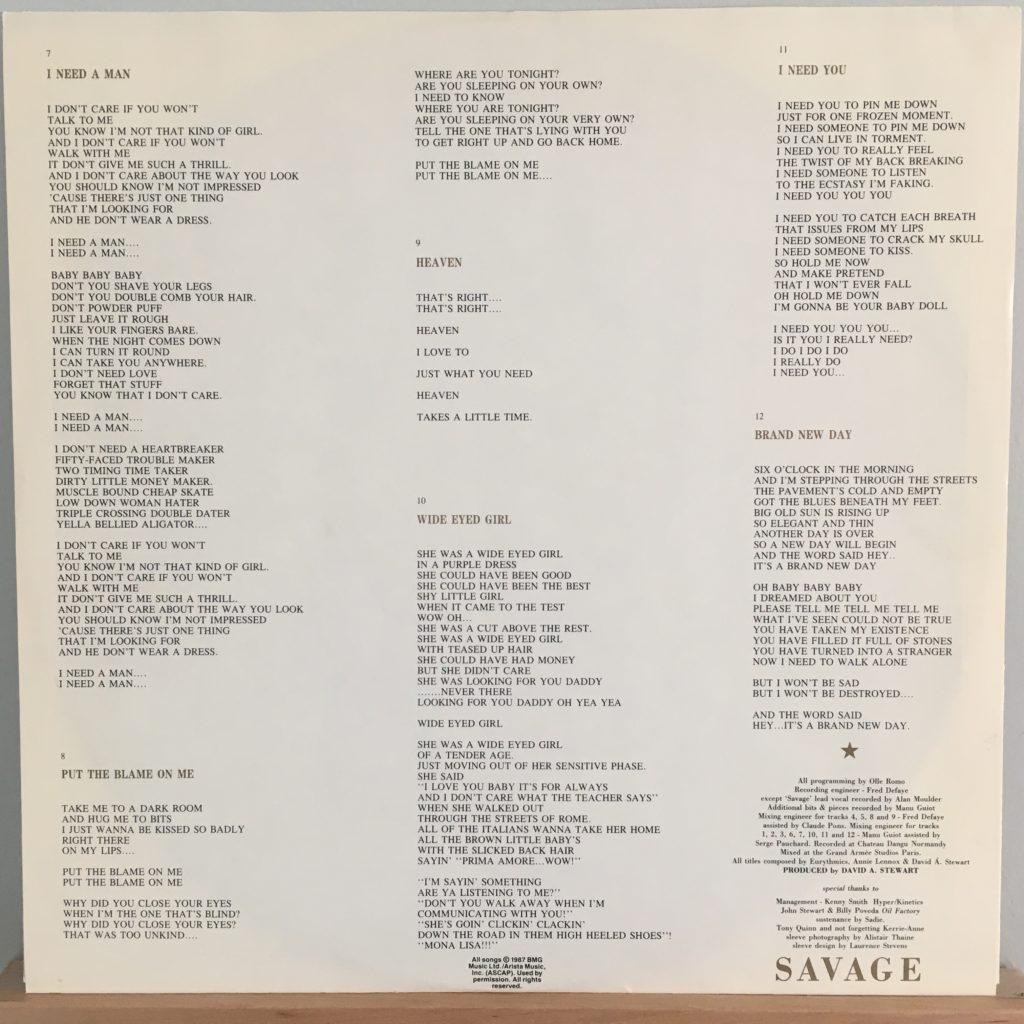 Savage lyric sleeve