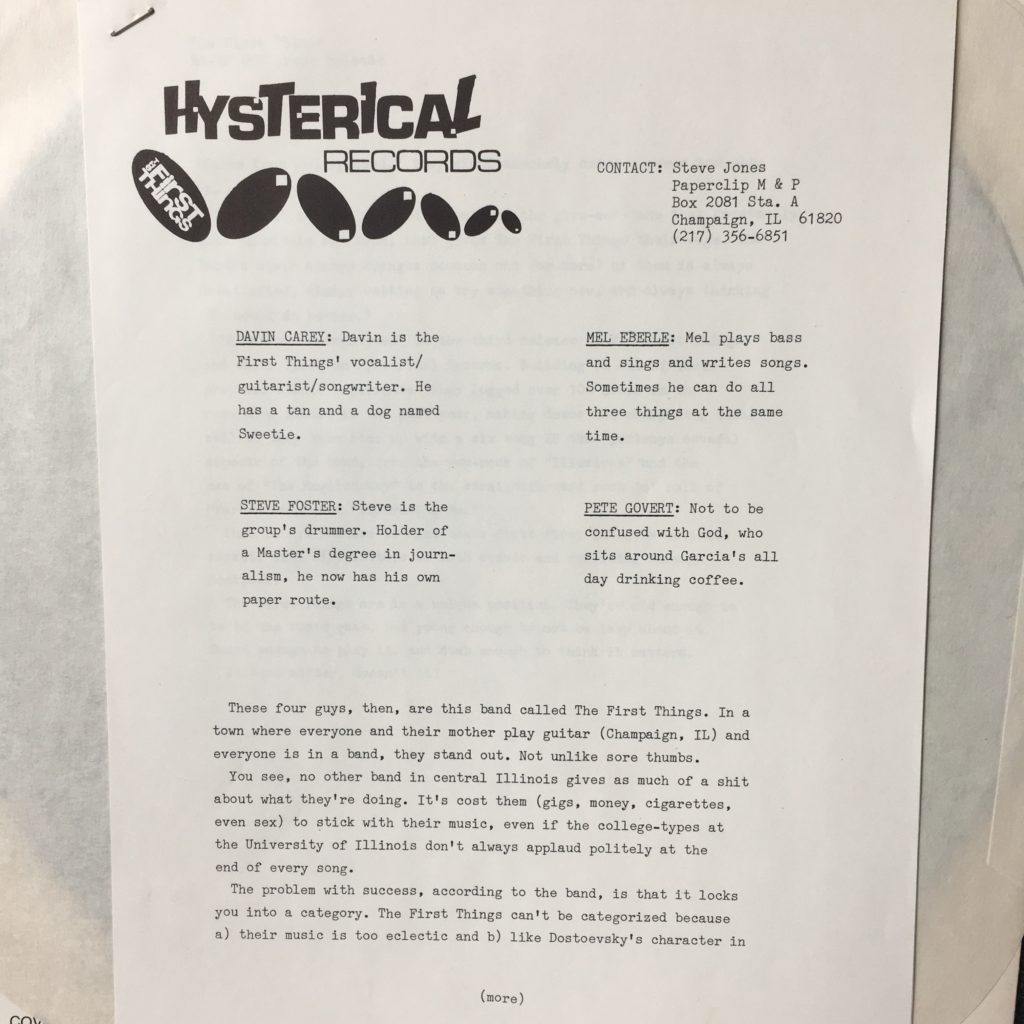 Hysterical Records Promo Material