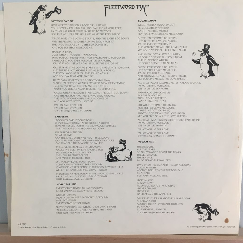 Fleetwood Mac lyric sheet 1