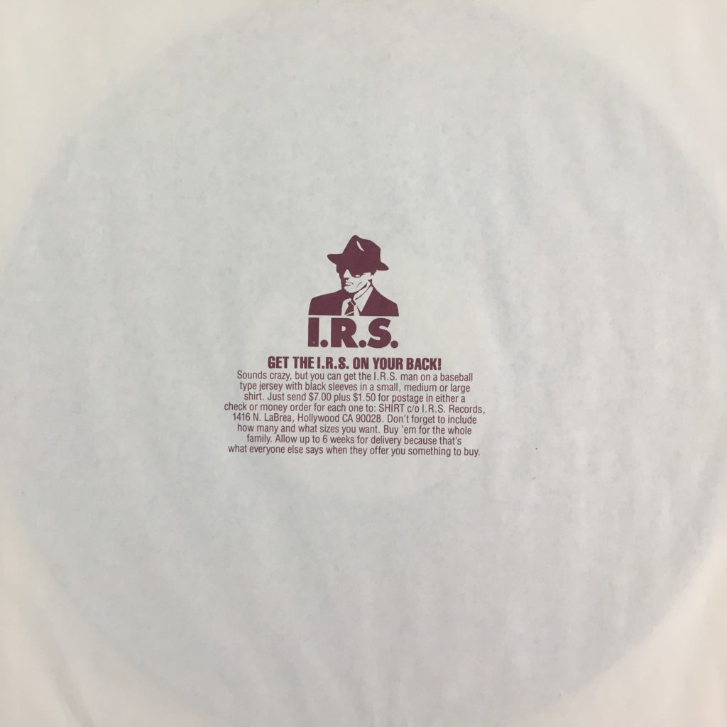 I.R.S. sleeve selling a promo baseball jersey