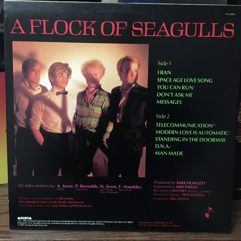 A Flock of Seagulls back cover