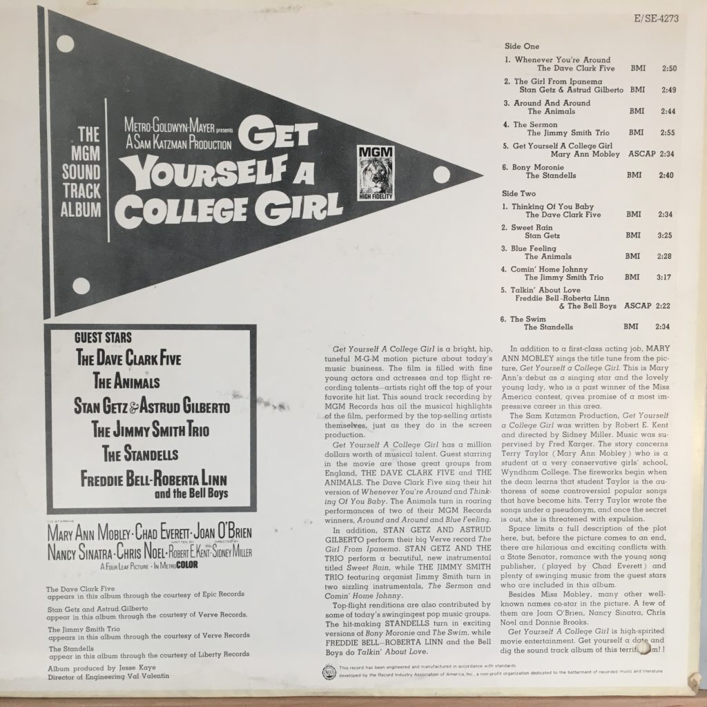 Get Yourself a College Girl back cover