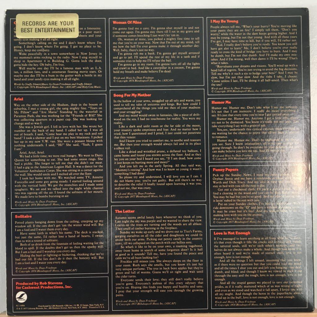 Dean Friedman back cover with lyrics