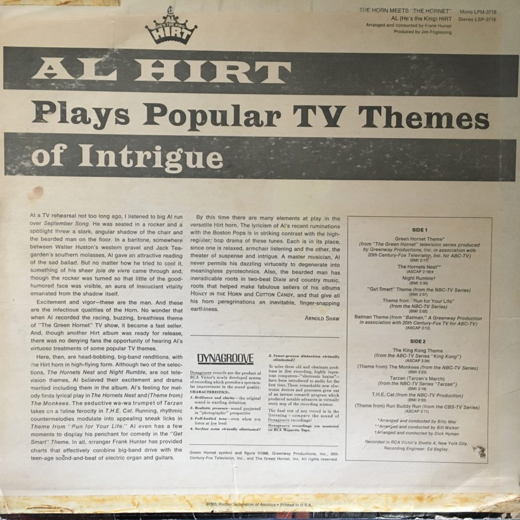 Al Hirt Plays Popular TV Themes of Intrigue