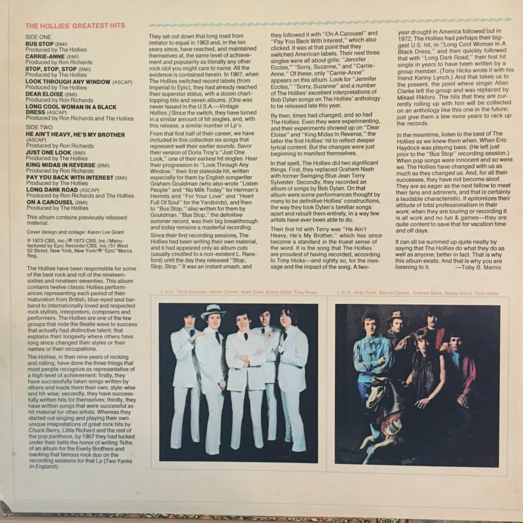 The Hollies Greatest Hits back cover