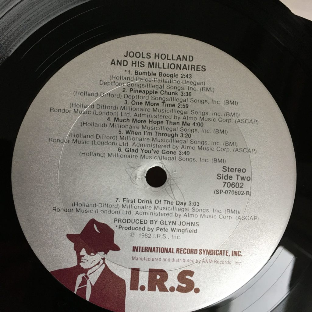 Jools Holland and His Millionaires IRS label