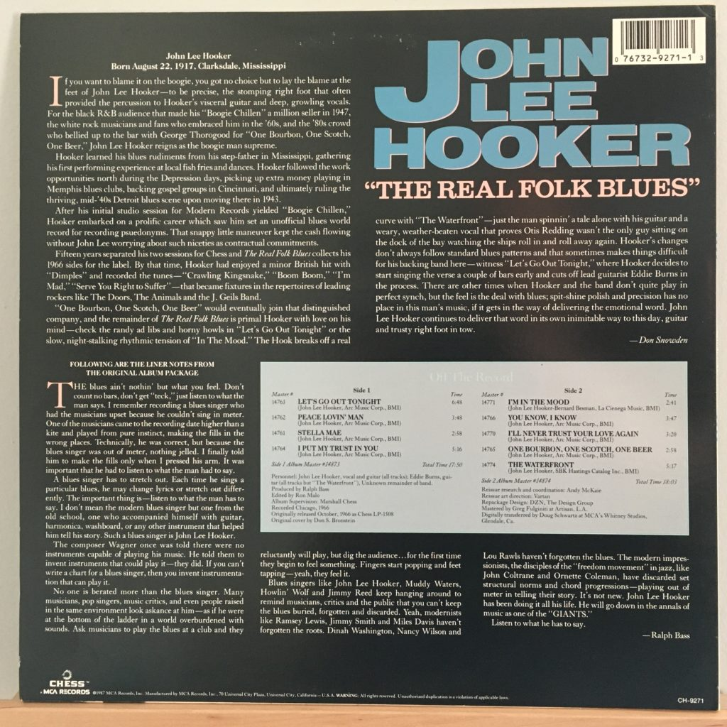 The Real Folk Blues back cover