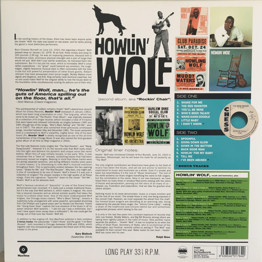 Howlin' Wolf reissue back cover