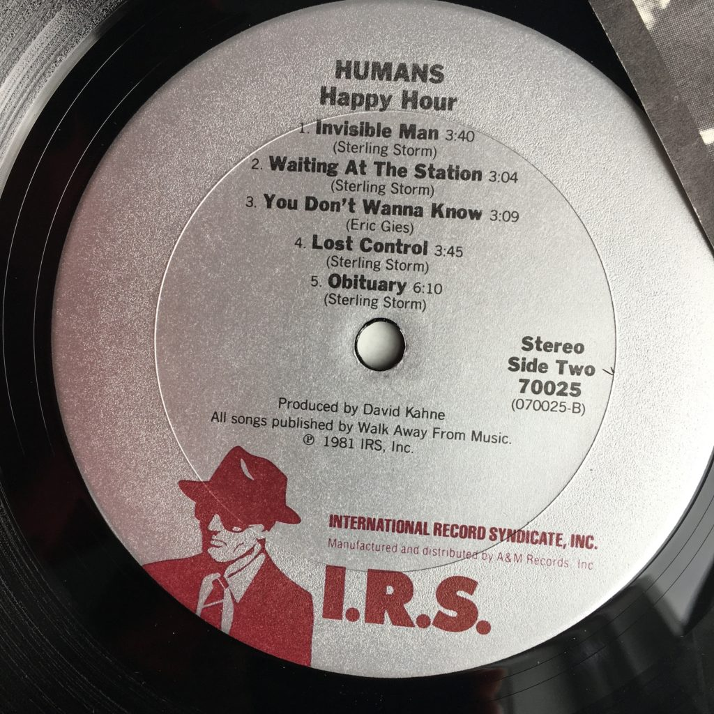 Humans Happy Hour on IRS label