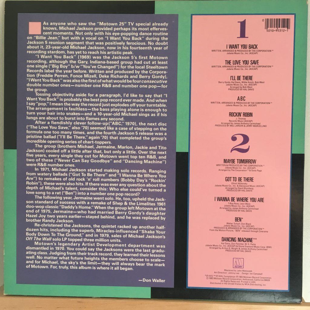 Michael Jackson and the Jackson 5 back cover