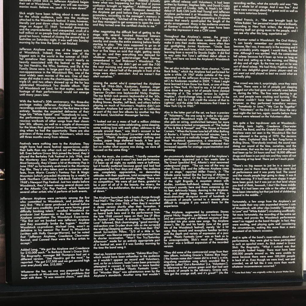 JA Woodstock liner notes
