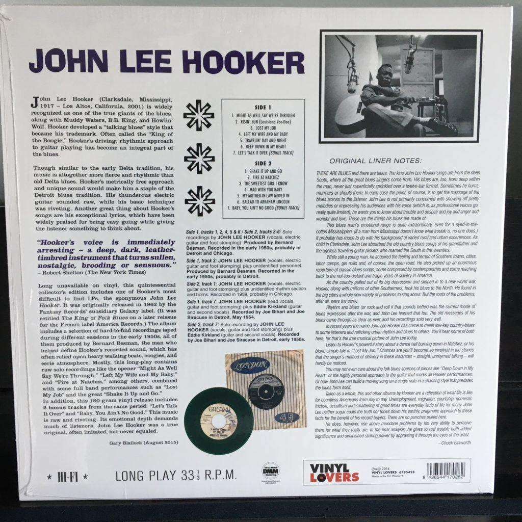 John Lee Hooker – John Lee Hooker back cover