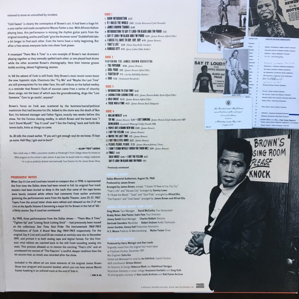 Say it Live and Loud gatefold liner notes