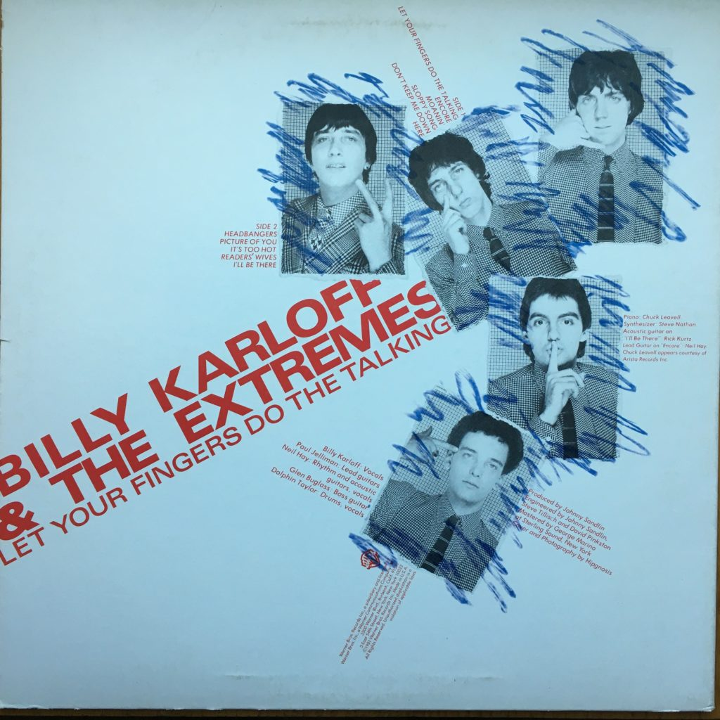 Billy Karloff & The Extremes back cover