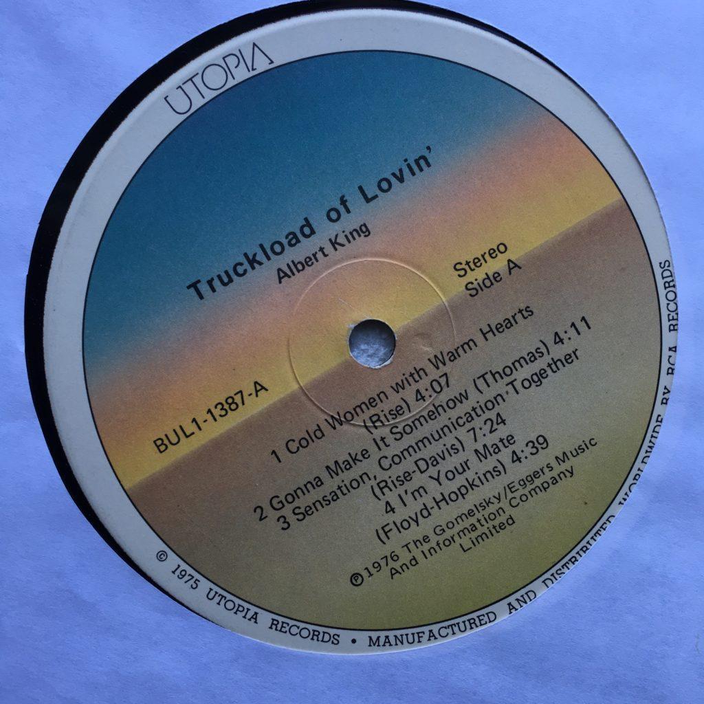Utopia Records label for Truckload of Lovin'