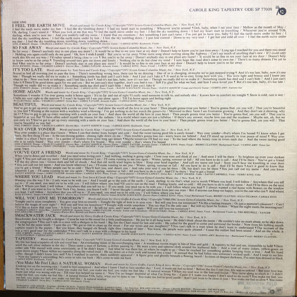 Carole King Tapestry back cover