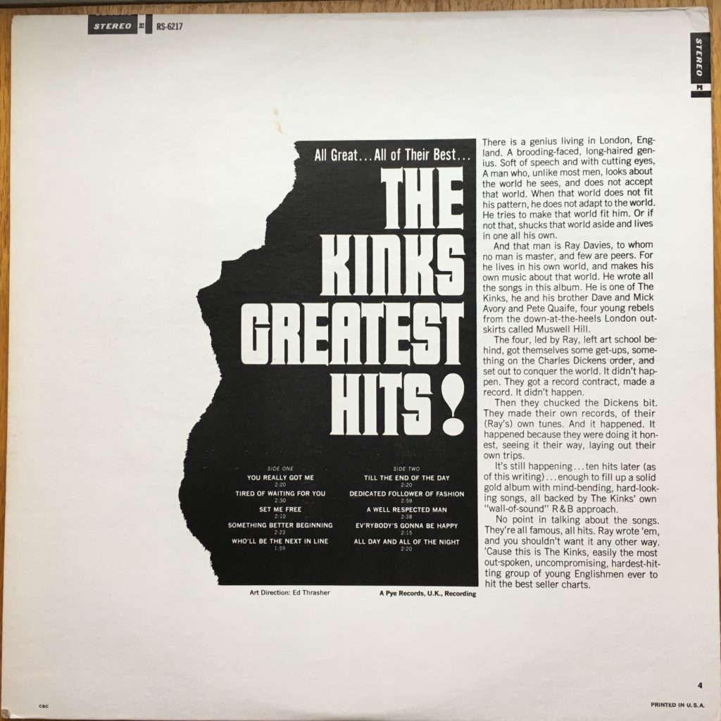 The Kinks Greatest Hits! back cover