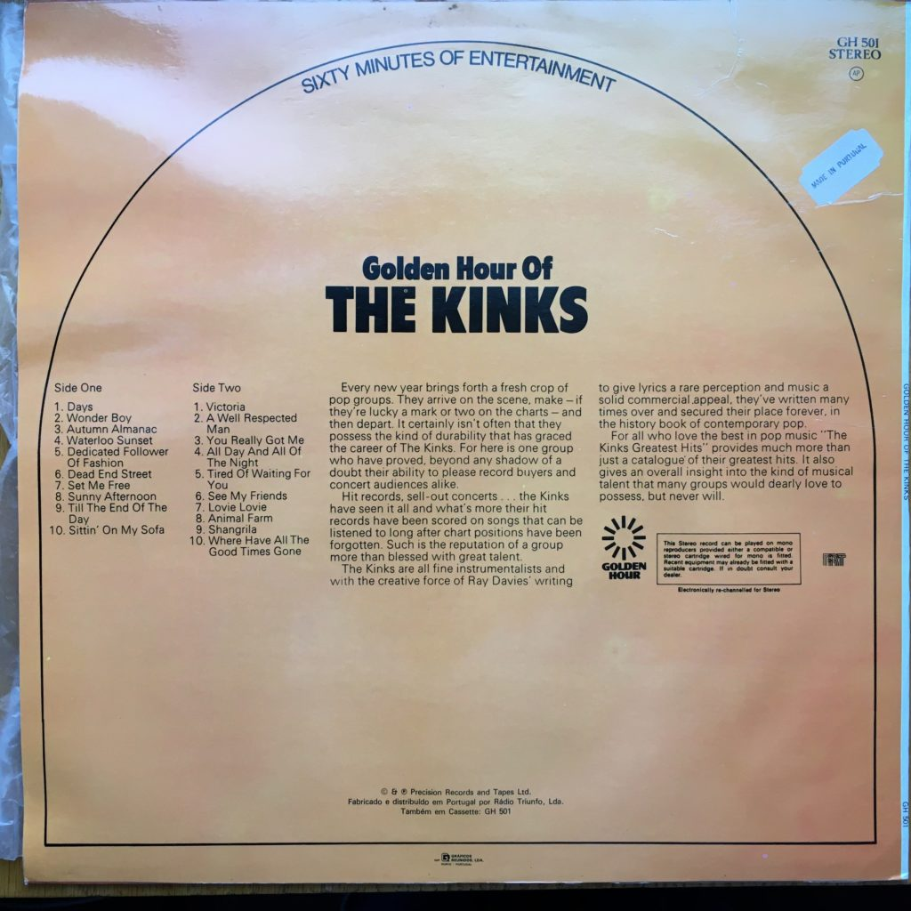 Golden Hour of The Kinks back cover