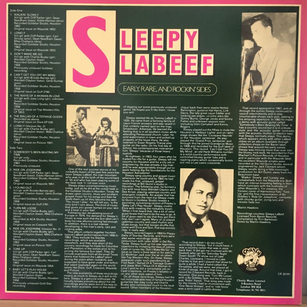 Sleepy LaBeef Early, Rare and Rockin' Sides back cover