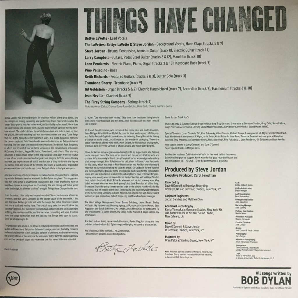 Things Have Changed gatefold